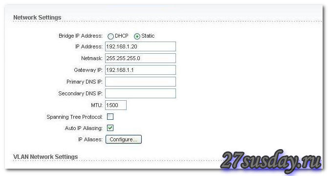 прописываем статичный ип адрес