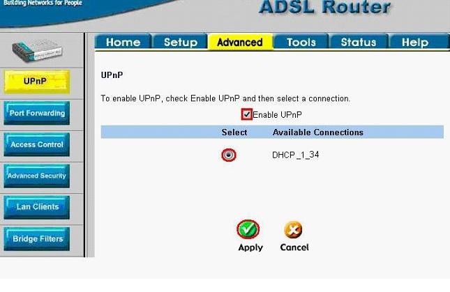 UPNP в локальной сети: настройка роутера
