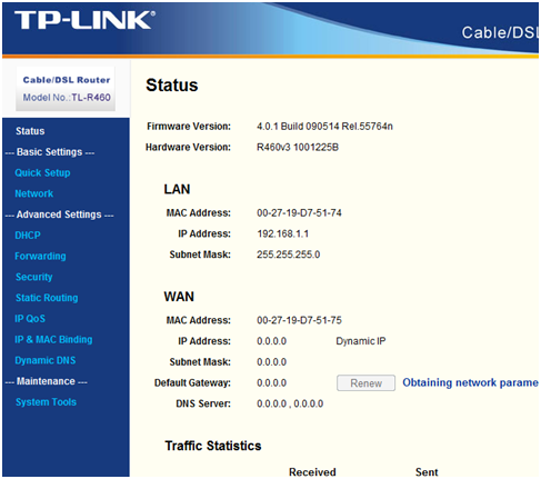Настройка роутера TP Link TL-R460