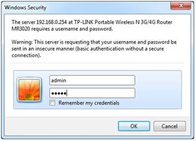 окно для ввода имени пользователя и пароля