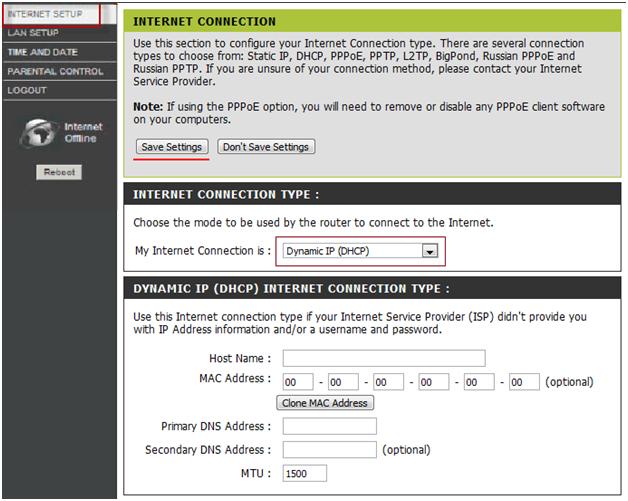 Пример ручной настройки «под DHCP»