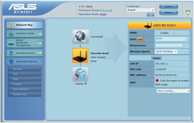 Первая страница графического интерфейса