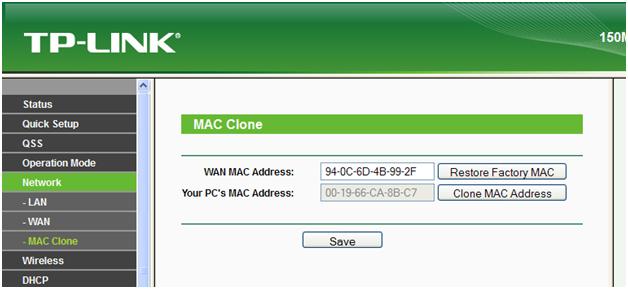 вводим мак адрес вашего компьютера
