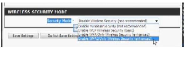 Раздел, Wireless Security Mode