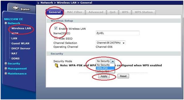 В области Securit выбираем метод WPA-PSK