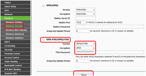 переходим в подменю Wireless Security