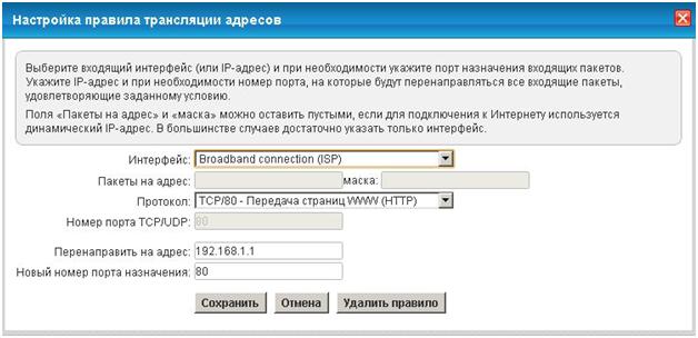 Подменю «Трансляция сетевых адресов (NAT)»