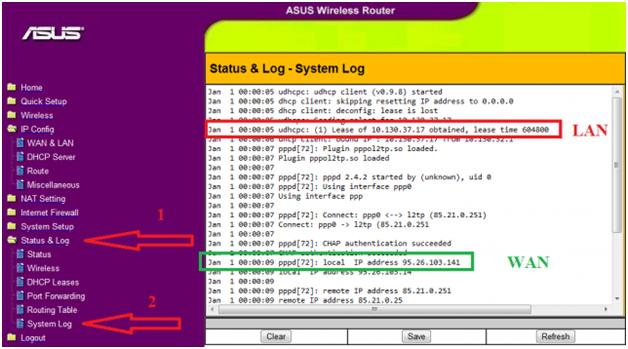 Вкладка «System Log»