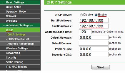 Подменю «DHCP Settings»
