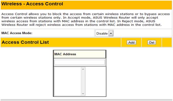 Вкладка Access Control