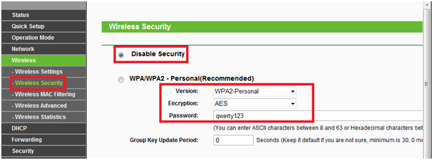 Вкладка Wireless Security