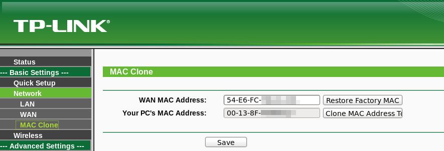 Вкладка «MAC Clone»