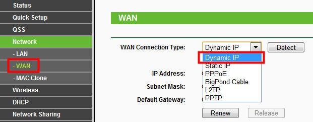 Выбираем «Dynamic IP»: