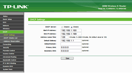 Окно DHCP Settings