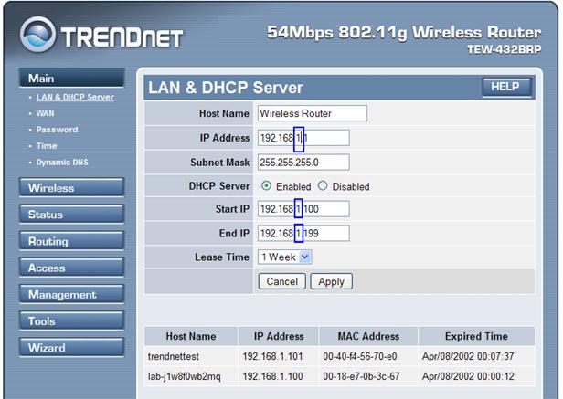 LAN и DHCP Server