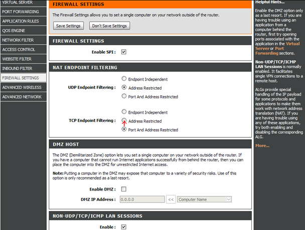 Селектор на «Address Restricted»