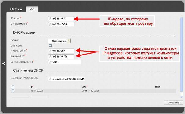 Параметры DHCP-сервера