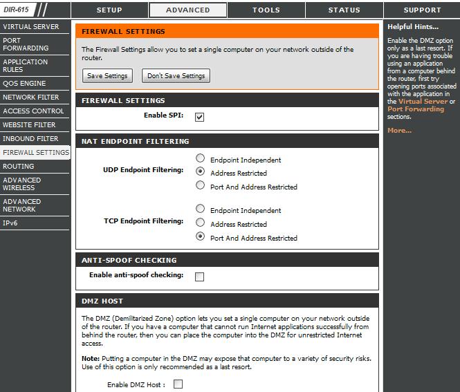 Вкладка «Firewall Settings»
