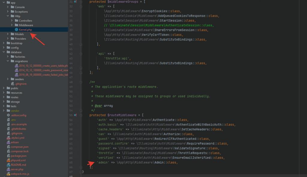Роль администратора Laravel 8 через MIDDLEWARE